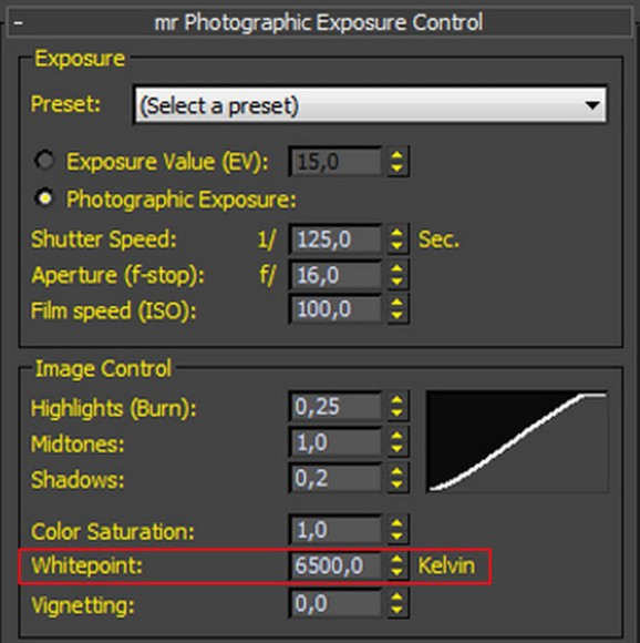 Simulazione fotorealistica della luce photographic settings