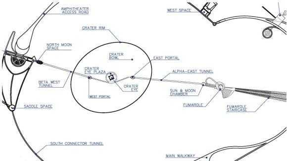 Planimetria Roden Crater con didascalie